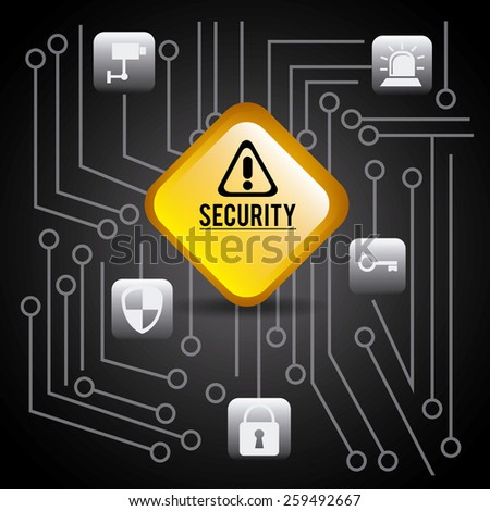 Security design over circuit background, vector illustration. - stock vector
