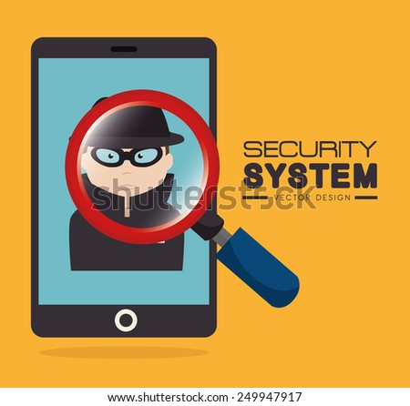 Security design over yellow background, vector illustration. - stock vector