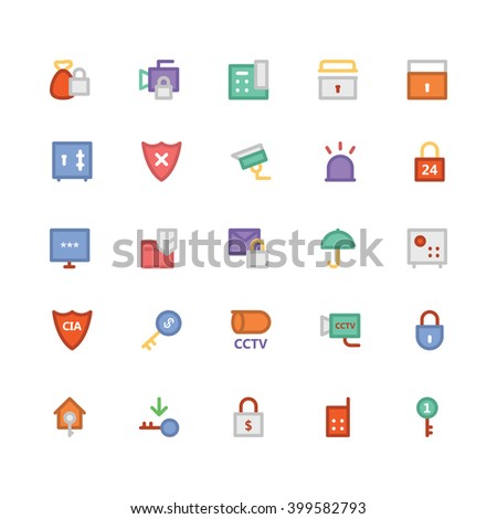 Security flat bold Vector Icons 1 - stock vector