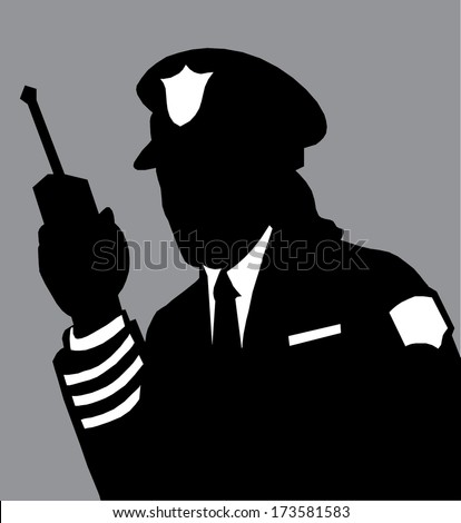 Security guard hand holding cb walkie-talkie radio - stock vector