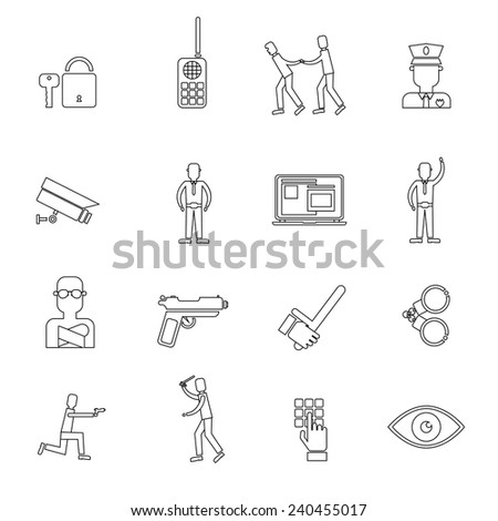 Security guard law protection police and criminal outline icons set isolated vector illustration - stock vector