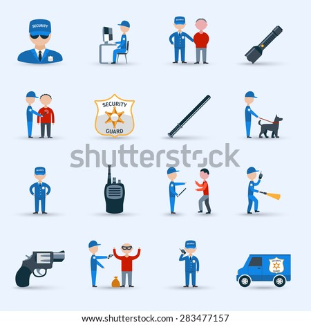 Security guard officer service cartoon character icons set with patrolling and detention duties  abstract isolated vector illustration - stock vector
