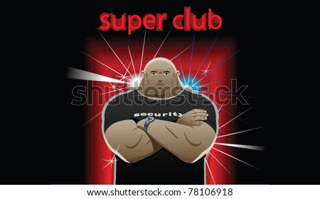 security guard stands in front of club, crossed his arms over his chest - stock vector