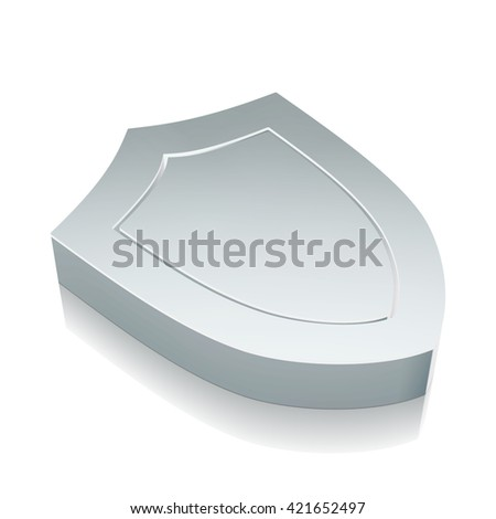 Security icon: 3d metallic Shield with reflection on White background, EPS 10 vector illustration. - stock vector