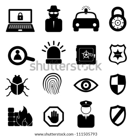Security icon set on white background - stock vector