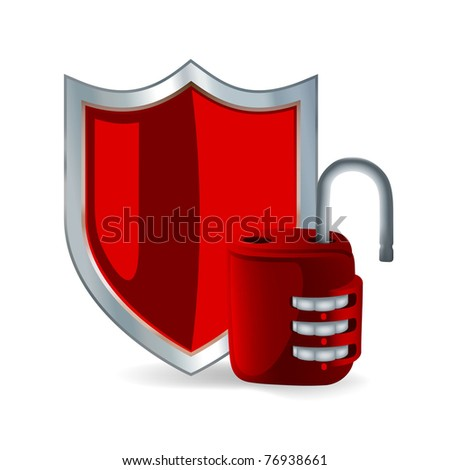 Security icon: Shield and open padlock - stock vector