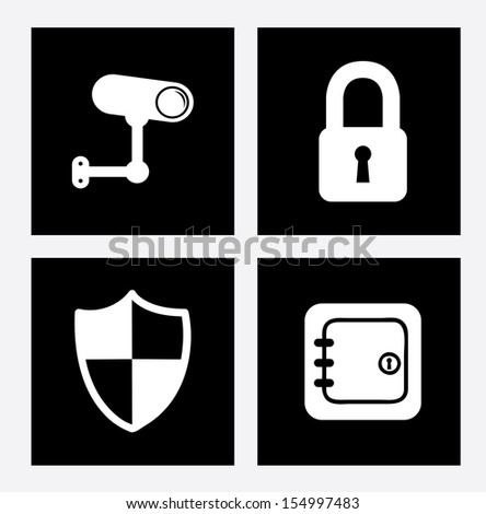 security icons over white background vector illustration - stock vector