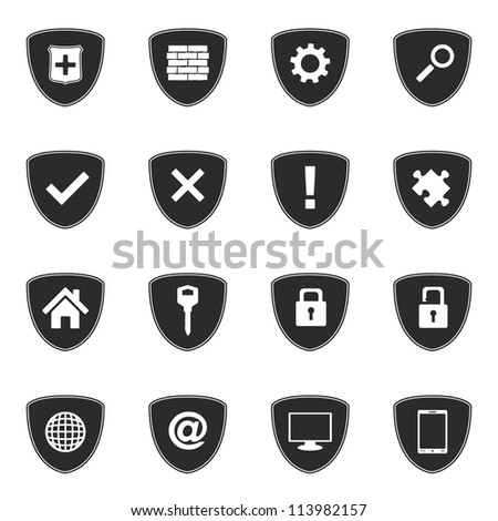 Security icons set, vector eps10 illustration - stock vector