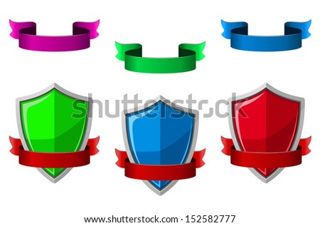 Security icons with shields and ribbons for internet safety design. Jpeg version also available in gallery - stock vector