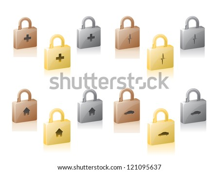 Security Locks with key of automobile, health, home, and life. Represents insurance or protection of assets - stock vector