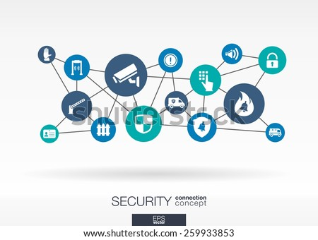 Security network. Growth abstract background with lines, circles, integrate flat icons. Connected symbols for guard, protection, monitoring, safety or control concepts. Vector interactive illustration - stock vector