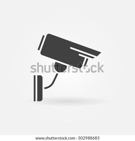 Security or surveillance camera icon - vector black simple symbol or logo - stock vector