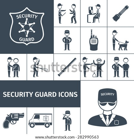 Security service guard officer uniform emblem baton and handgun black icons set abstract isolated vector illustration - stock vector