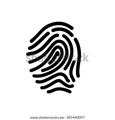 security set fingerprint line icon - stock vector