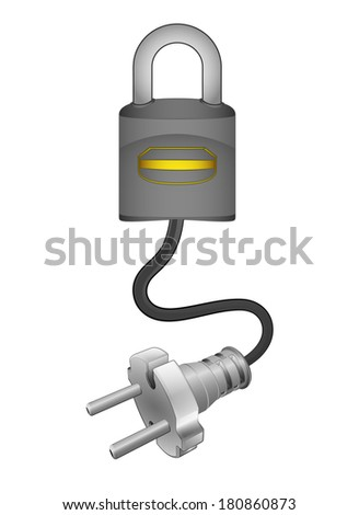security system with plug connection ready to get power vector illustration - stock vector