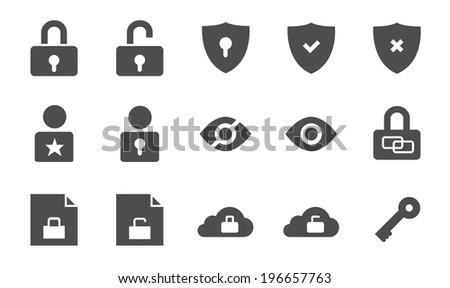 Security vector icon set - stock vector