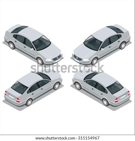 Sedan Car,  Car Flat, Car isometric, Car city transport, Car set, Car Vector, Car illustration, Car Icon, Car Vector, Car isolated, Car automobile, Car Drawing, Car sedan Object, Car sedan 3d, Car - stock vector