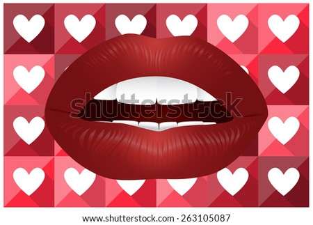 Seductive Lips with Lovely Background - stock vector