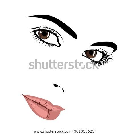 Seductive look of pretty woman face. Easy editable layered vector illustration.  - stock vector