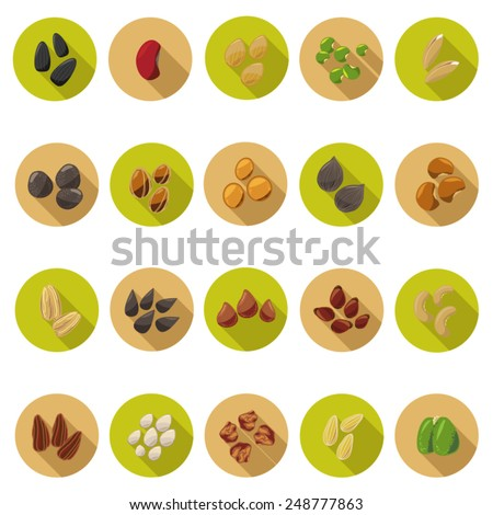 Seed icons set in flat design with long shadow. Illustration EPS10 - stock vector