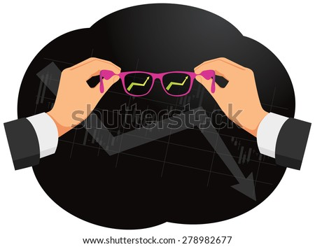 Seeing through rose-colored glasses on the economic downturn. Pink glasses in hands. - stock vector