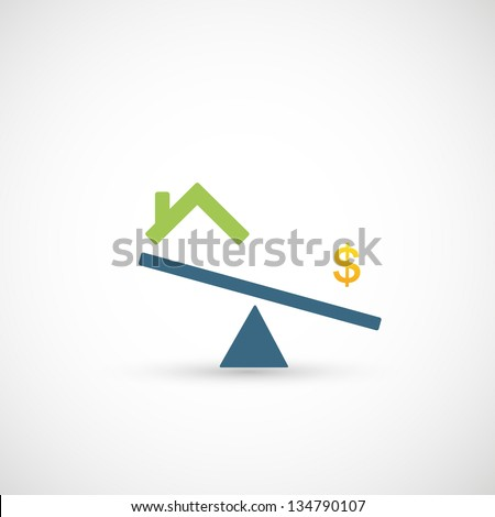 seesaw with dollar symbol and house icon vector - stock vector
