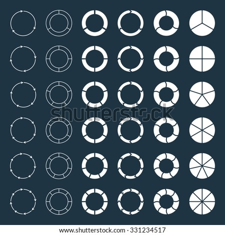 Segmented and multicolored pie charts and arrows set with 3, 4, 5, 6, 7 and 8 divisions. Template for diagram, graph, presentation and chart. - stock vector
