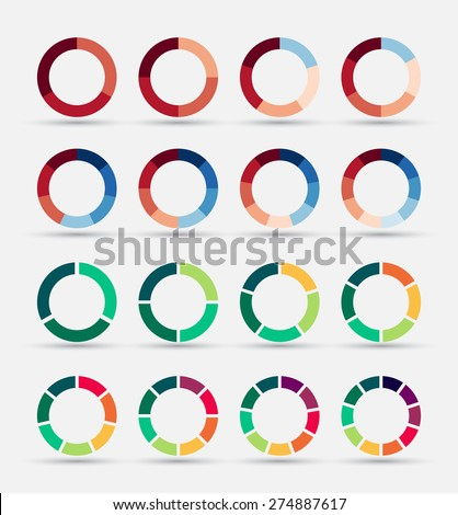 Segmented and multicolored pie charts set with 3, 4, 5, 6, 7 and 8 divisions. Template for diagram, graph, presentation and chart. - stock vector