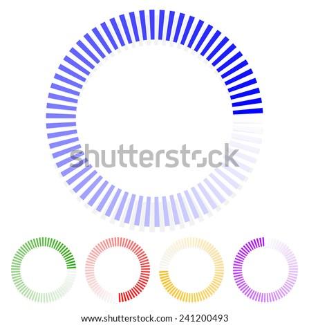 Segmented circles, progress indicators, buffer symbols - stock vector