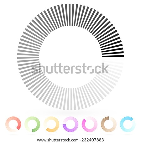 Segmented preloader, buffer shape or progress indicator (eps10) - stock vector
