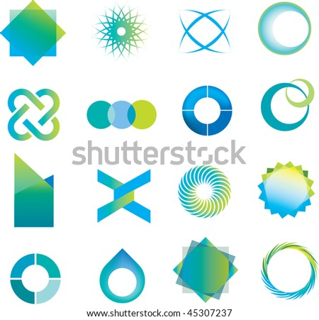 selection of abstract icons in a modern line style - stock vector