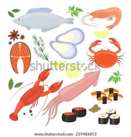 Selection of colorful vector seafood  shrimp and sushi icons including cuttlefish  calamari  fish  lobster  crab  sushi  sushi rolls  shrimp  prawn  mussel  salmon steak  spices and seasonings - stock vector