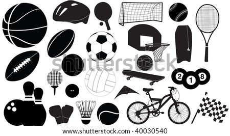 selection of sport silhouettes - stock vector