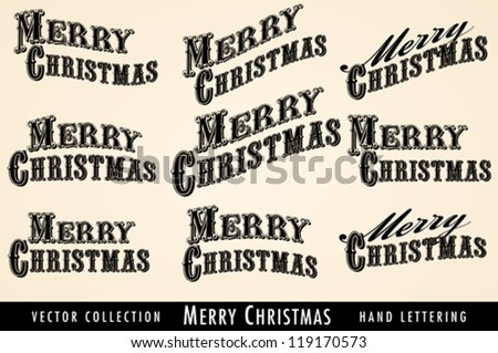 Selection of Vintage Merry Christmas lettering - stock vector