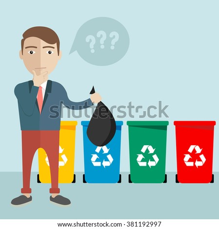 Selective sorting, Different colored recycle waste bins vector illustration,  - stock vector
