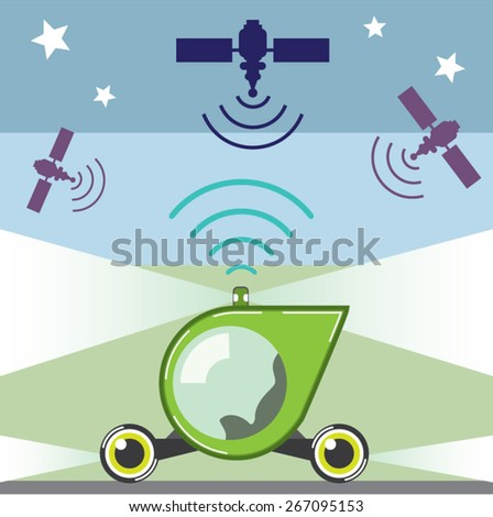Self-Driving Car no person inside just empty seat - stock vector