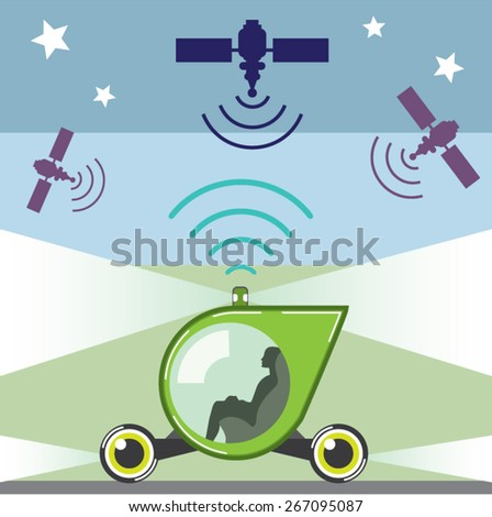 Self-Driving Car with a person inside - stock vector