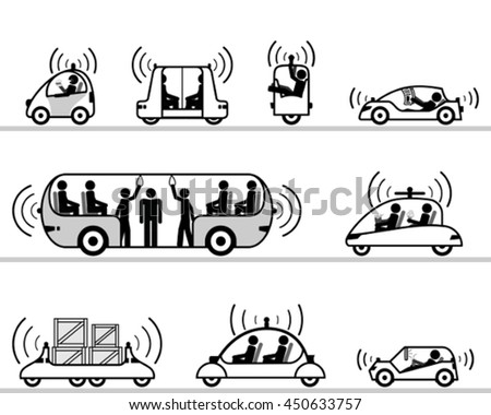 Self-driving cars pictogram collection - stock vector