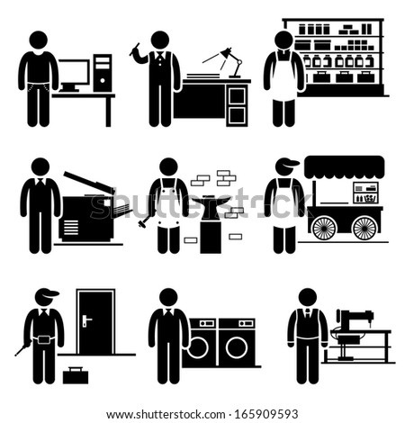 Self Employed Small Business Jobs Occupations Careers - Grocer, Freelancer, Copywriter, Printing Shop, Blacksmith, Hawker, Locksmith, Laundry, Tailor - Stick Figure Pictogram - stock vector
