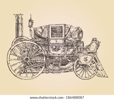 self-propelled carriage steam punk  (Old car) vintage engraved illustration, hand drawn - stock vector