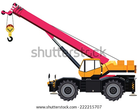 Self-propelled wheeled crane on white background - stock vector