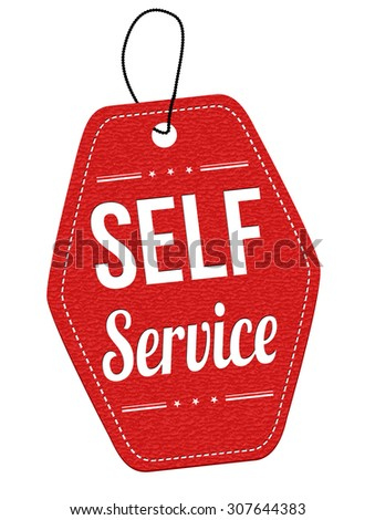 Self service red leather label or price tag on white background, vector illustration - stock vector