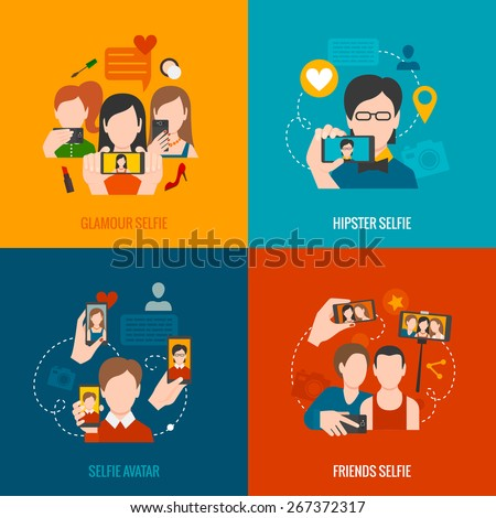 Selfie design concept set with glamour hipster friend avatar flat icons isolated vector illustration - stock vector