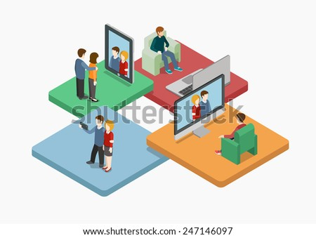 Selfie flat 3d web isometric infographic concept vector. Couple making self photo shot by smart phone for social media network post. Creative people collection. - stock vector