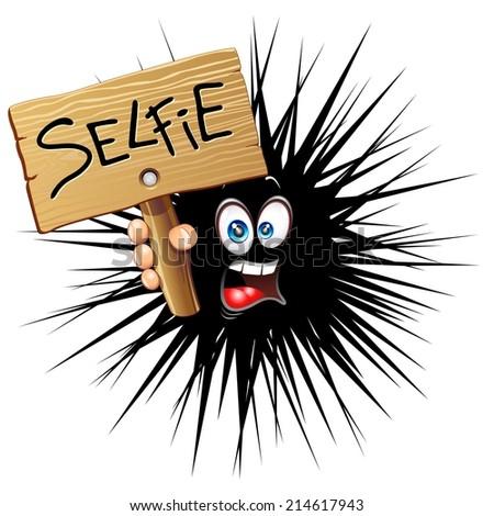 Selfie Fun Cartoon Face - stock vector