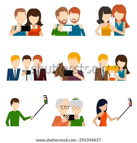 Selfie icons set in flat design style. Camera and phone, people and friend,  memory and photograph pose. Vector illustration - stock vector