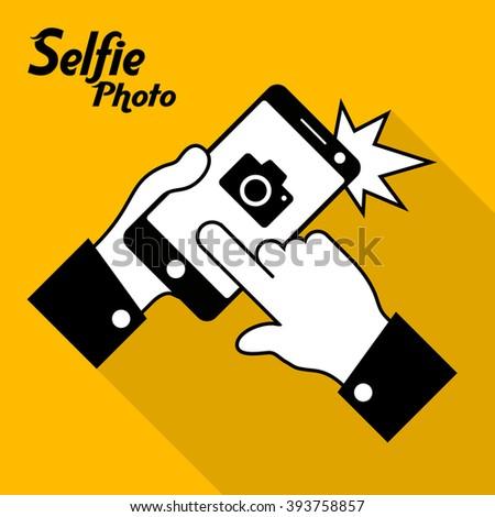 Selfie phone photo in yellow, vector illustration - stock vector