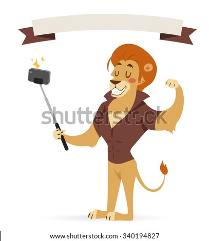 Selfie photo shot lion young boy power strong man illustration on white background. Cartoon lion sportsman, lion man vector. Lion hipster. Vector lion isolated. Lion like strong man with human body - stock vector