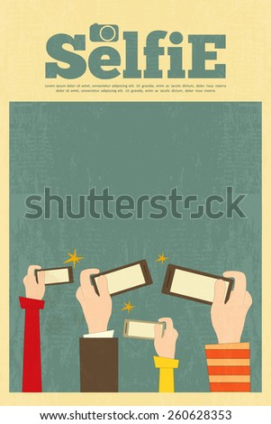 Selfie Poster. Flat Design. Vector Illustration. - stock vector