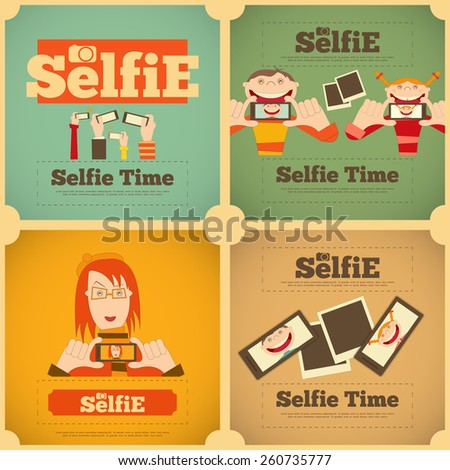 Selfie Posters Set. Flat Retro Design. Vector Illustration. - stock vector